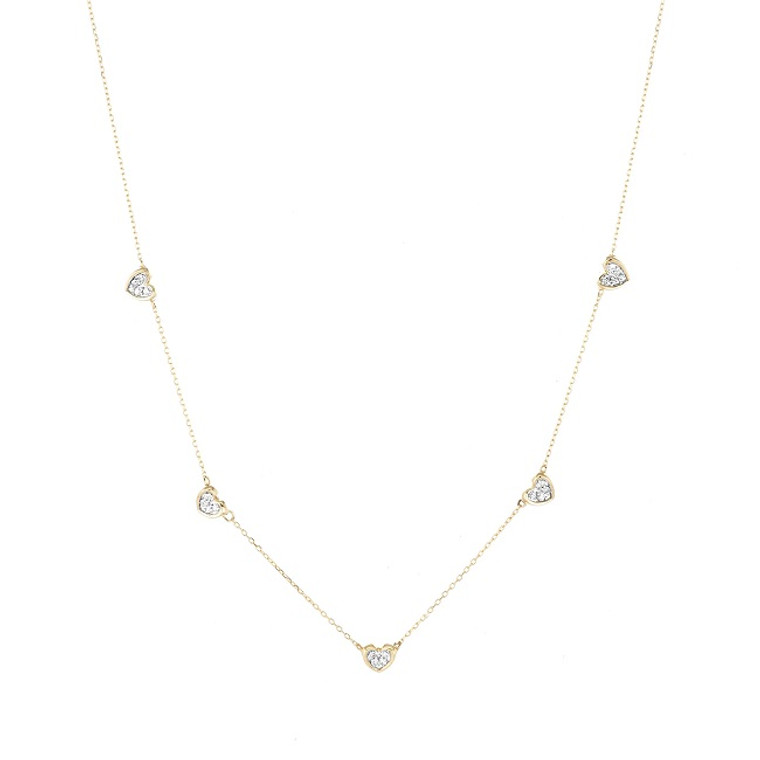 5 Pavé Folded Hearts Necklace