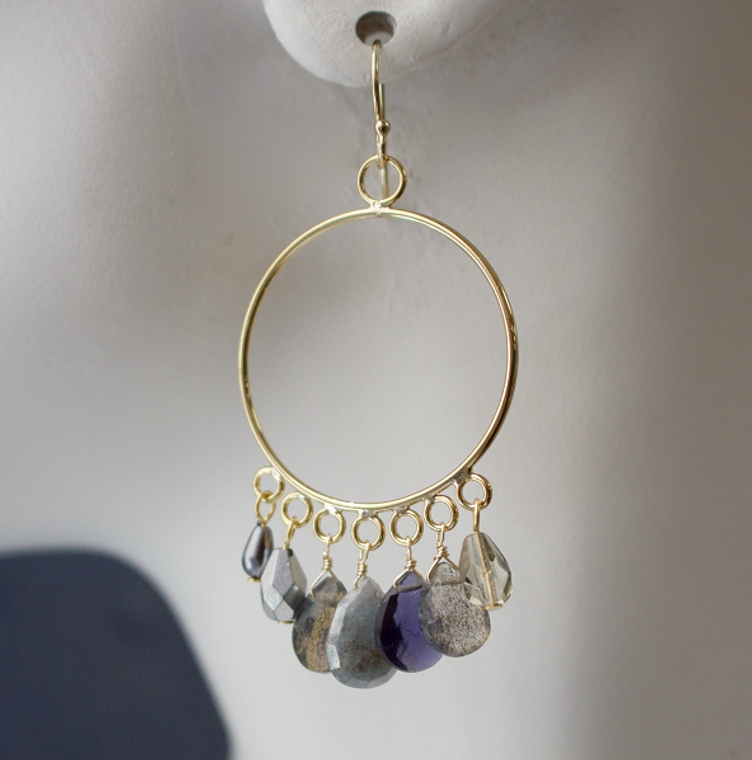 Semi-Precious Dangle Front Facing Hoop