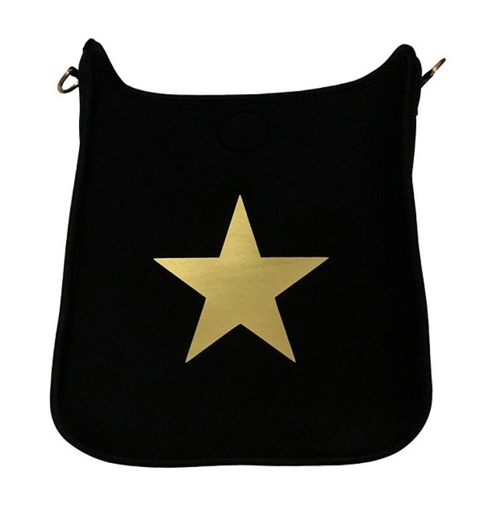 Black Neoprene Messenger Gold Star/No Strap