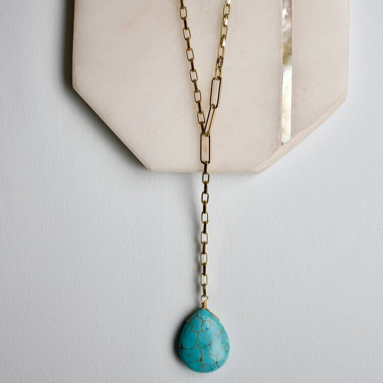 a.v max Turquoise Pendent Y Necklace