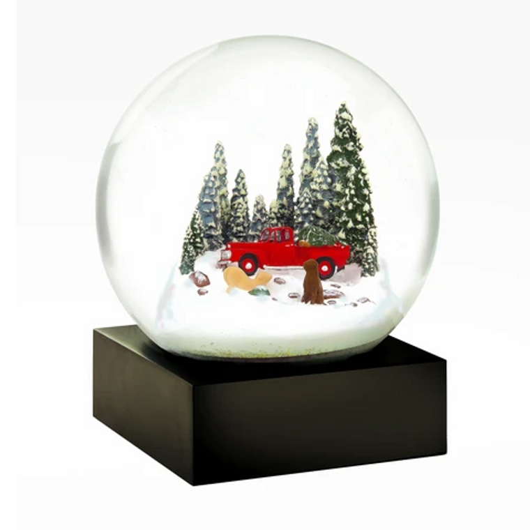 Snow Globe Red truck/dogs