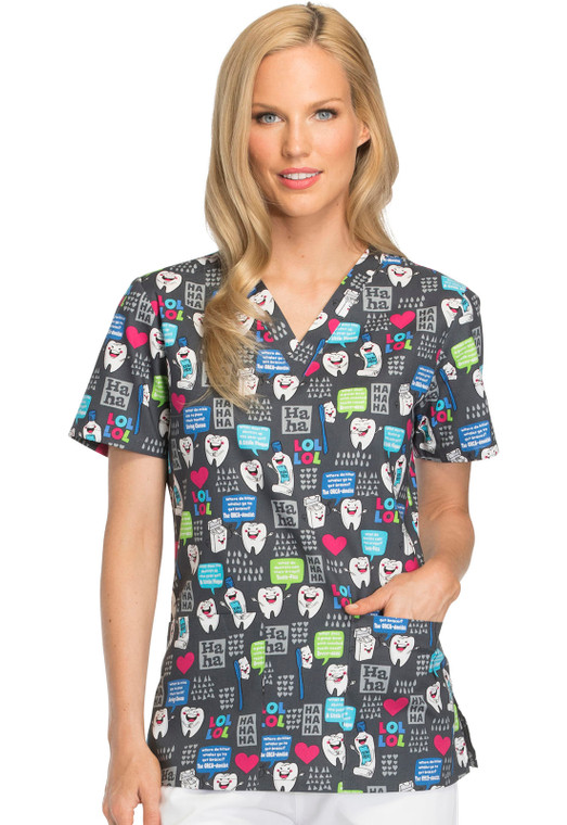 Dickies Women's Print V-Neck Top Have A Laugh DK704