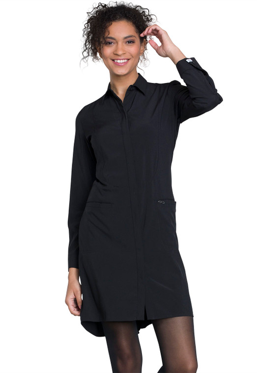 "40"" Cherokee Infinity Women's Adjustable Sleeve Lab Coat 1401 - Black"