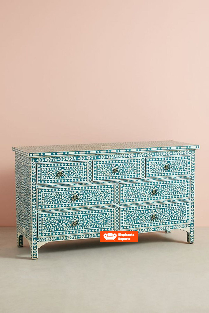 Bone Inlay Floral Chest Of 7 Drawers in Teal Green