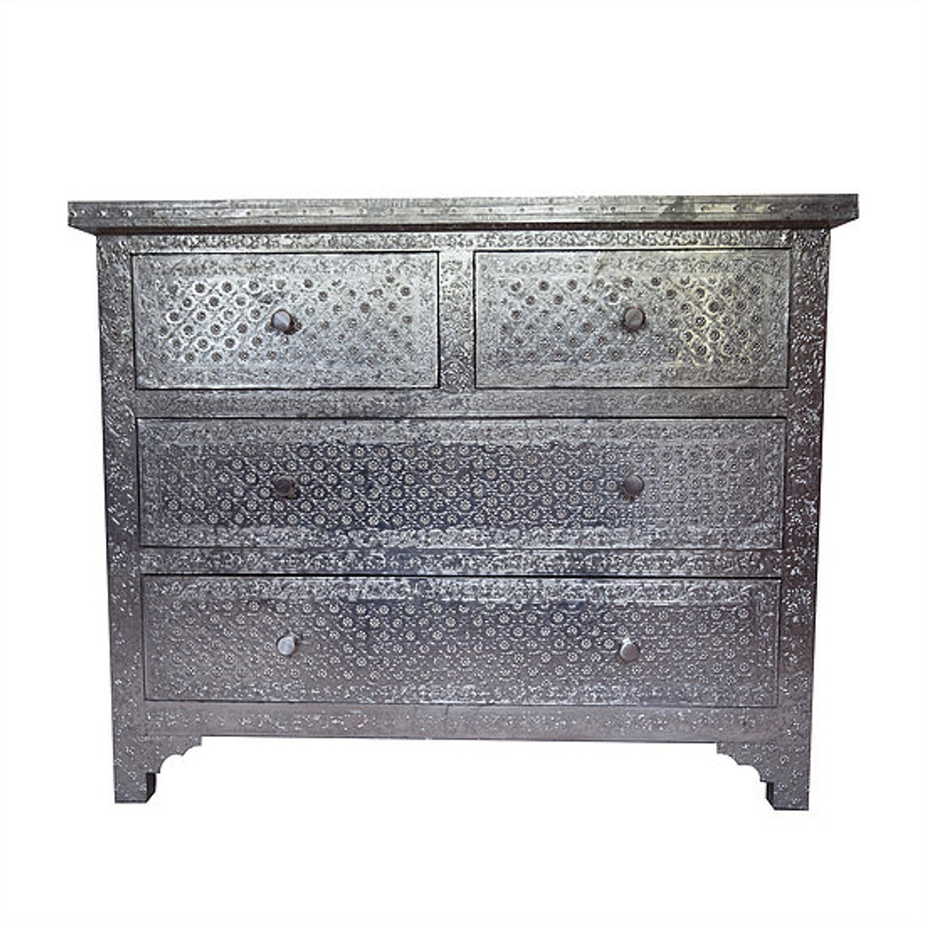 Metal Chest Of 4 Drawers Silver Pressed Elephanta Exports