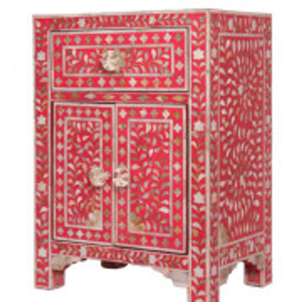 Mother of Pearl Inlay Floral Design Bedside Table Raspberry