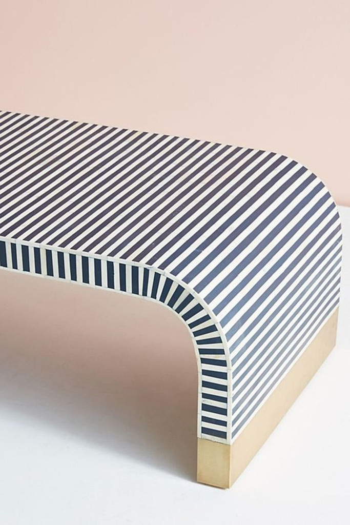 Bone Inlay Waterfall Coffee Table in White and Blue