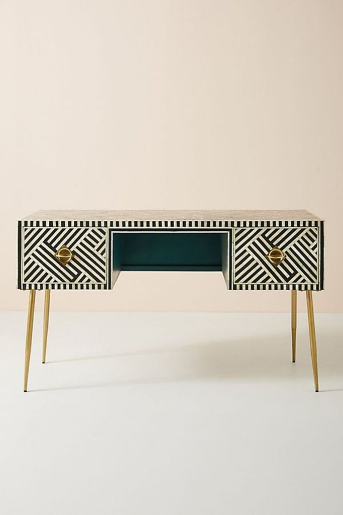Bone Inlay Two Drawers Console Table In Black White Stripe With Brass Elephanta Exports