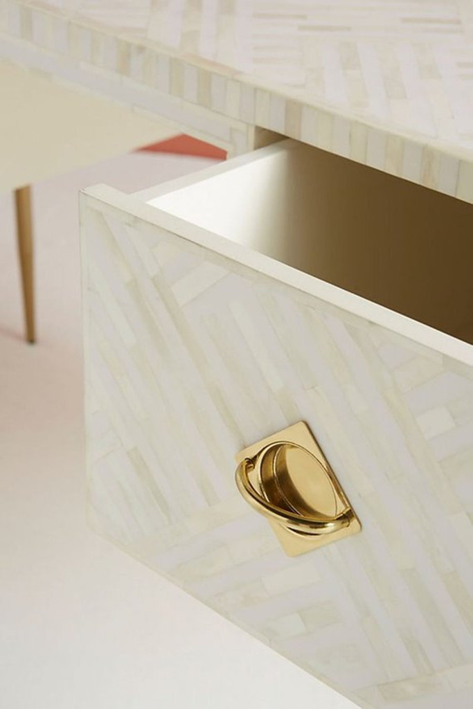 Striped Design Bone Inlay Two Drawers Console table in White with Brass Legs
