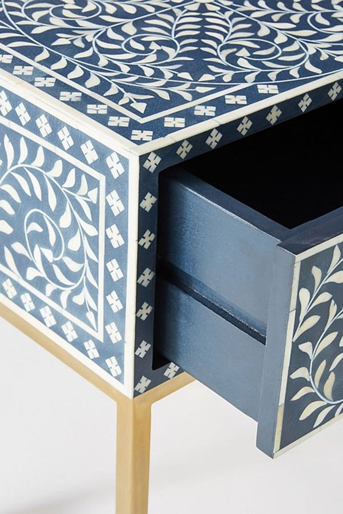 Bone Inlay Bedside Table In Floral Design Blue