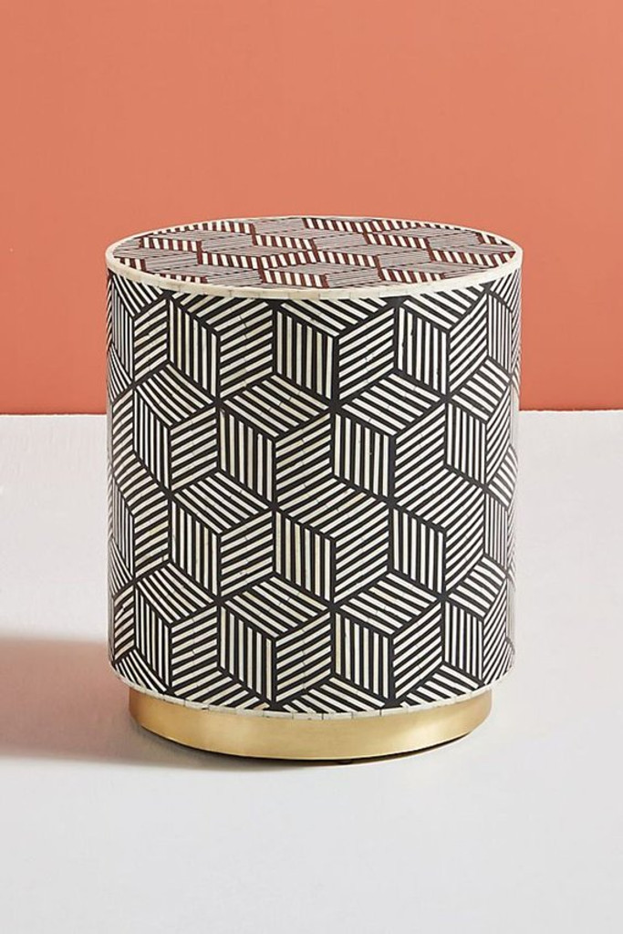 Picture of: Bone Inlay Drum Side Table In Black With Brass Polished Base Elephanta Exports