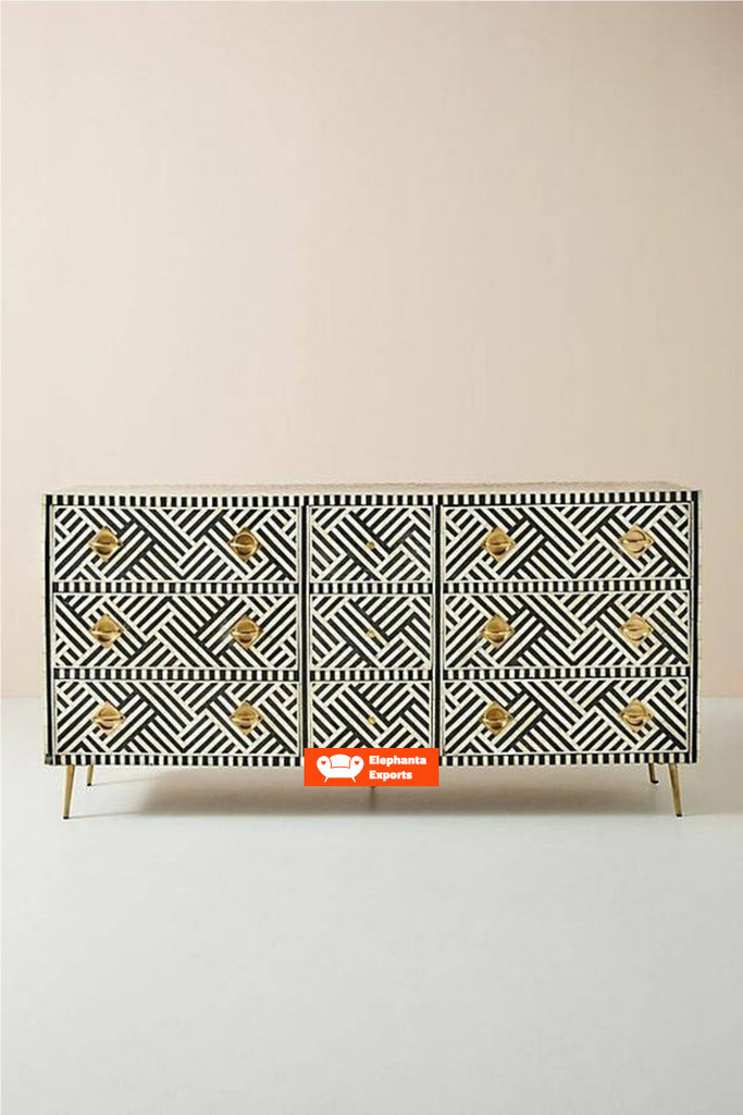 Striped Design Bone Inlay Chest of 9 Drawers in  Black
