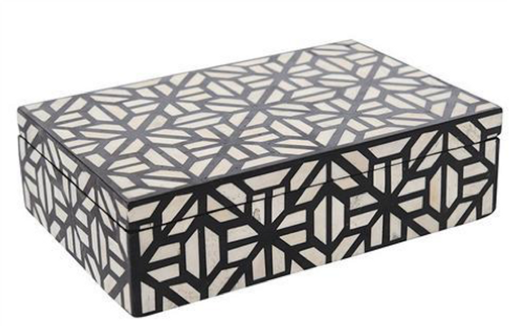 Geometric Design Black and Bone Inlay Vanity Box