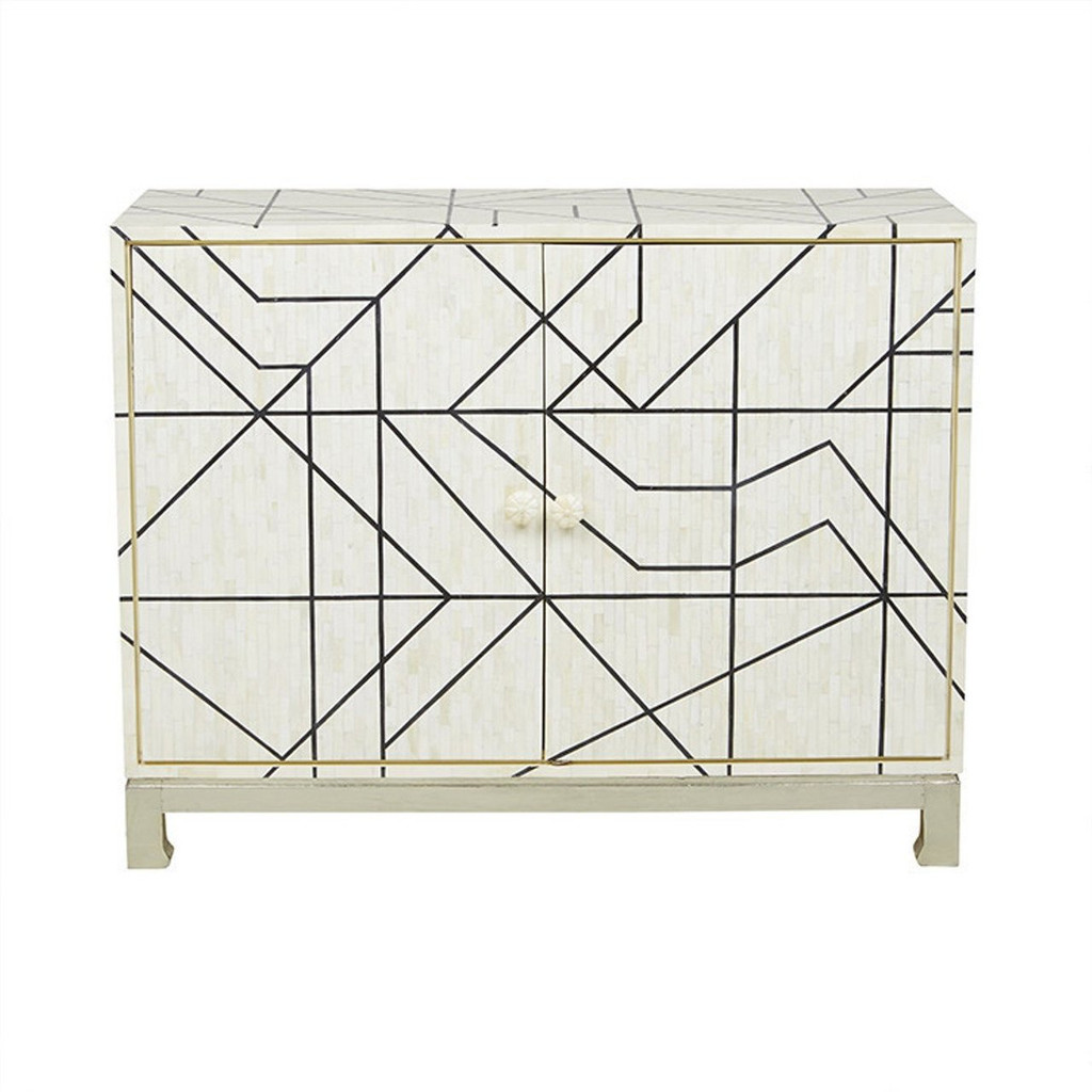 Geometric Line Design Bone Inlay Cabinet in White