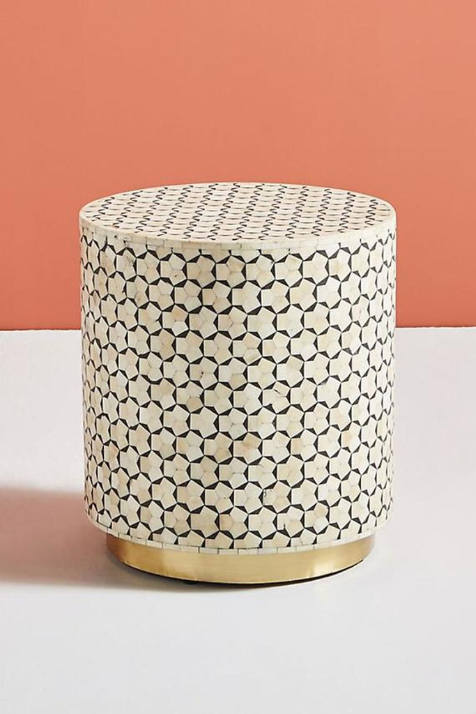 Targua Bone Inlay Drum Side Table In Black And White With Brass Polished Base Elephanta Exports