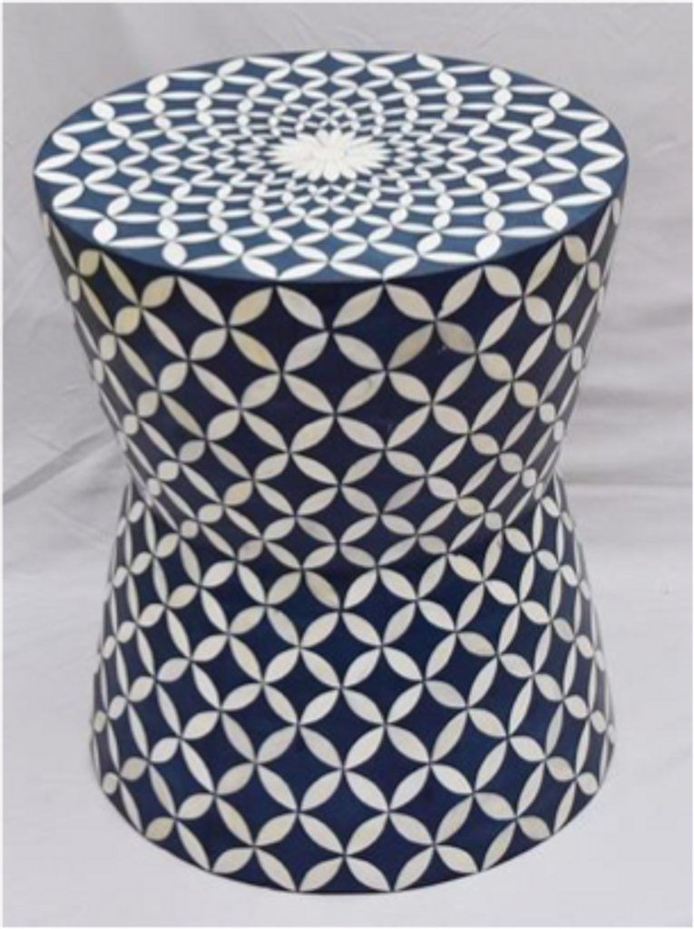 Eye Design Bone Inlay Drum Bar Stool in Blue
