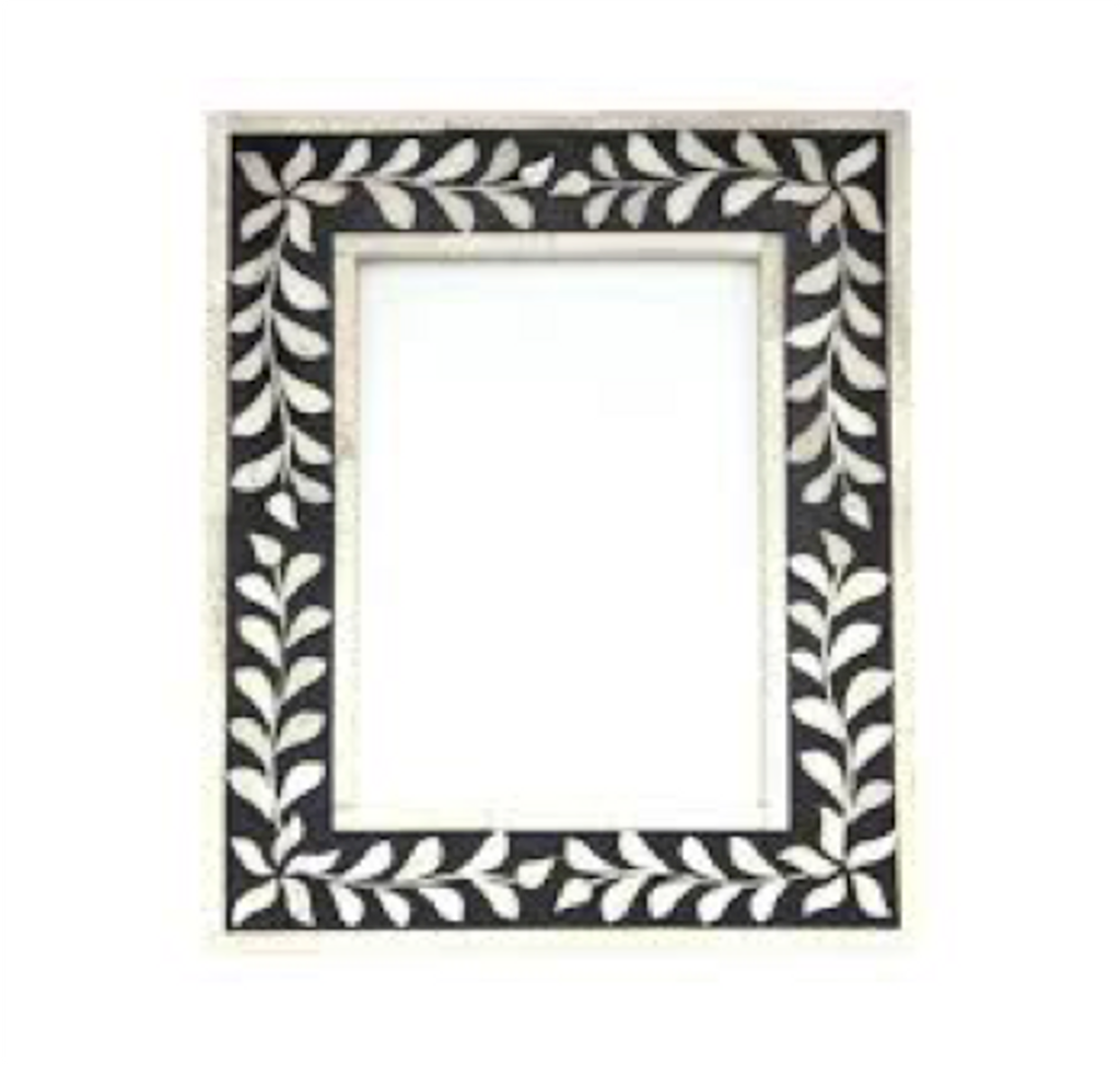 Leaf Pattern Mother of Pearl Inlay Photo Frame Black