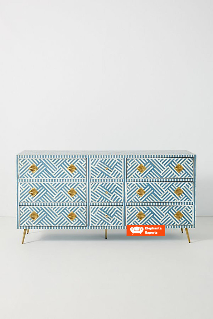 Striped Design Bone Inlay Chest of 9 Drawers in Blue
