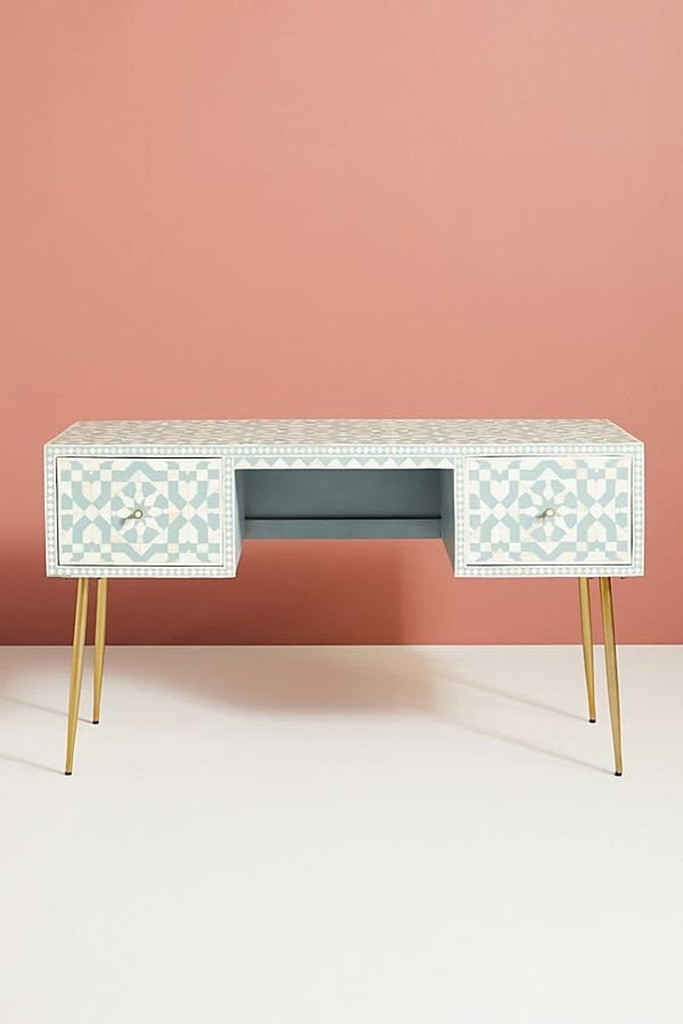 Moroccan Bone Inlay Console / Desk in Light Green