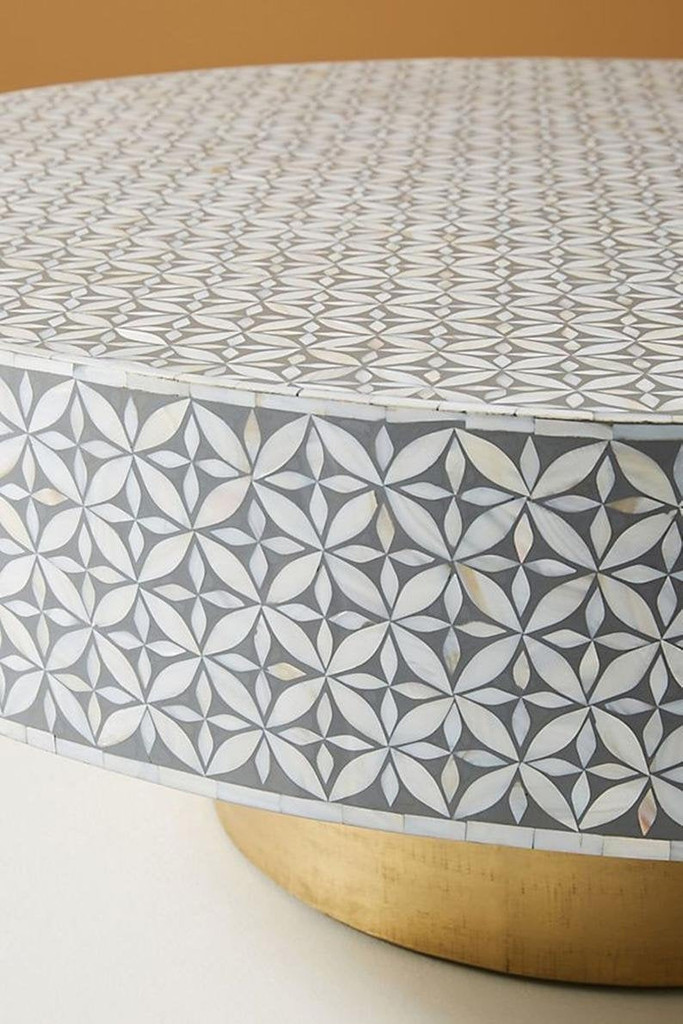 Geometric Mother of Pearl Inlay Coffee Table in Grey