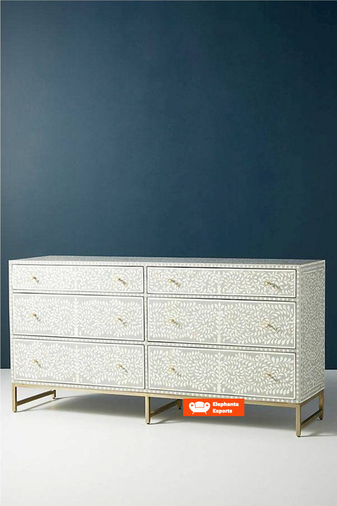 Floral Intertwine Chest of 6 Drawers in Grey