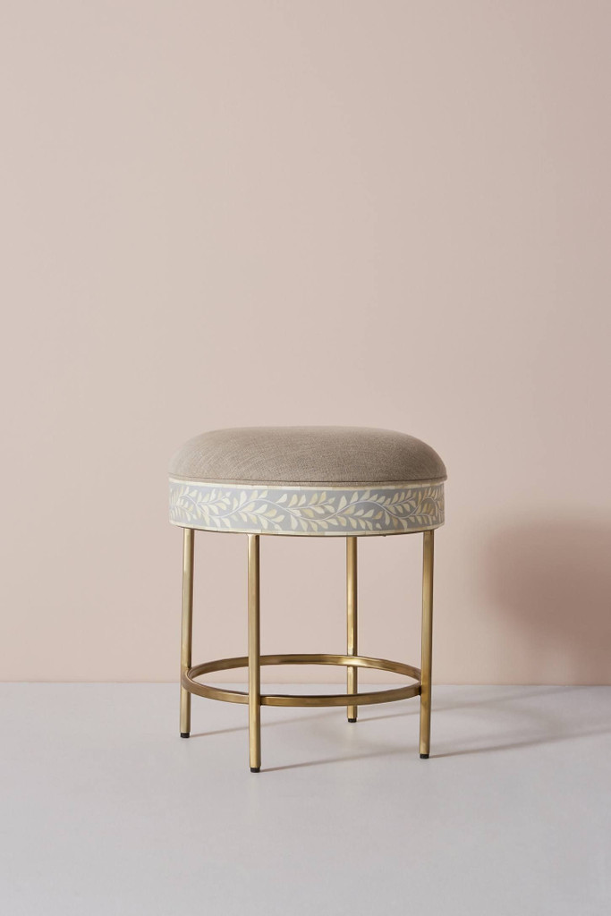 Floral Intertwine Bone Inlay Stool / Side table in Grey