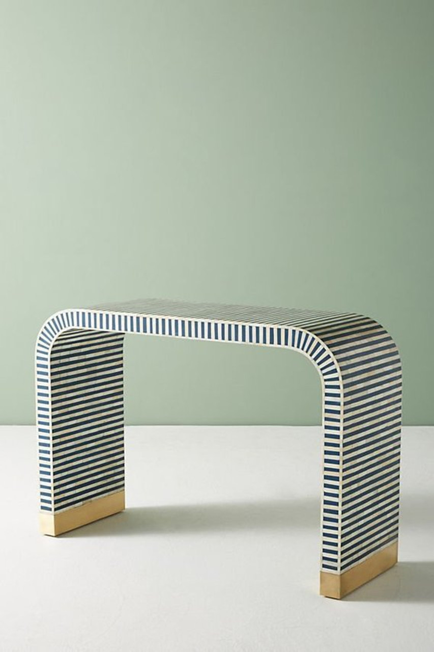Incredible Bone Inlay Waterfall Console In White Blue Theyellowbook Wood Chair Design Ideas Theyellowbookinfo