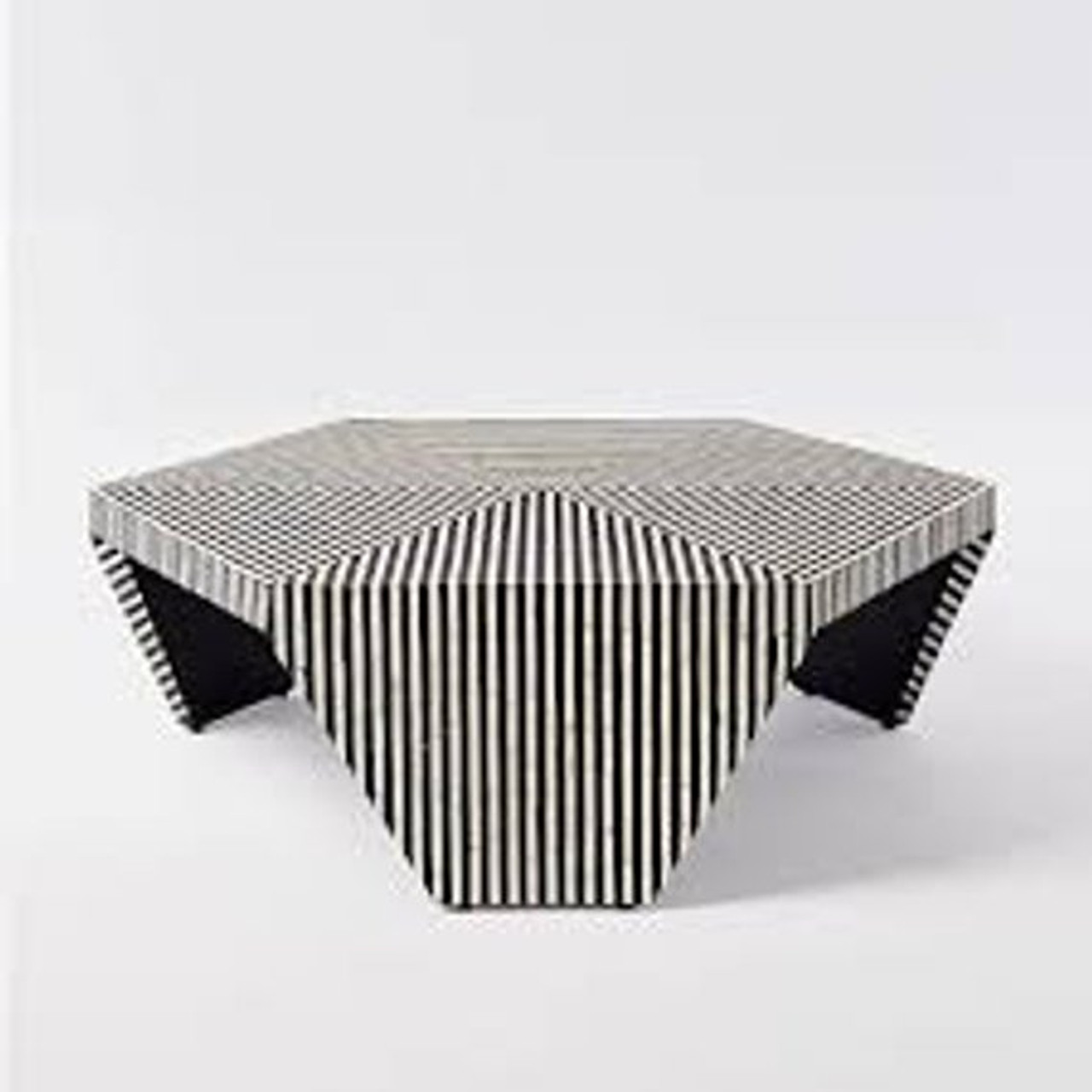 - Optical Strip Pattern Hexagonal Bone Inlay Coffee Table Or Centre
