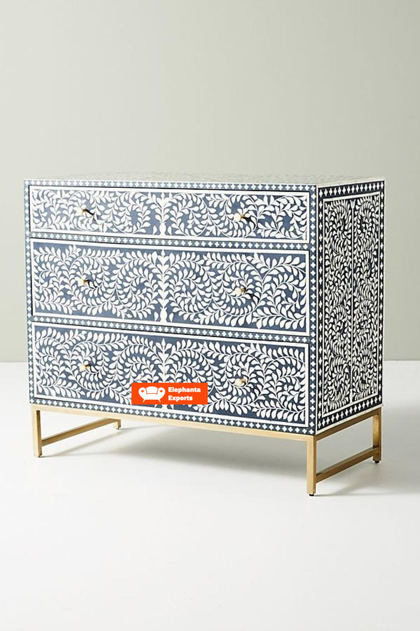 Floral Handmade Bone Inlay Chest Of 3 Drawers In Navy Blue