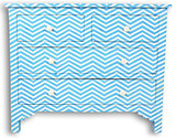 Chevron Design Bone Inlay Chest of 4 Drawers in Turquoise Blue
