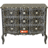 Provincial French Mother of Pearl Inlay Chest of 3 Drawers in Black