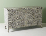 Bone Inlay Floral Chest Of 7 Drawers in Pale Gray