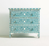 Bluish Green Colour Bone Inlay 3 Drawer Dresser in Floral Design
