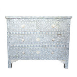 Bone Inlay Floral Pattern 4 Drawer Chest in Grey and White