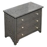 Striped Pattern Bone Inlay Chest of 3 Drawers in Black