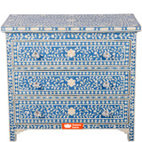 Bone Inlay 3 Drawer Chest Floral Design in Blue