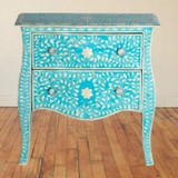 Bone Inlay 2 Drawer Chest Curved Legs Turquoise