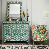 Bone Inlay Floral Pattern Chest of 4 Drawers in Jade Green