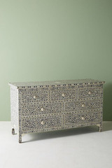 Floral Bone Inlay Chest of 7 Drawers Table in Grey