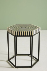 Striped Hexagonal Bone  Inlay Table  in Black and White
