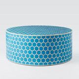 Honeycomb Design Round Bone Inlay Coffee Table in Turquoise Blue