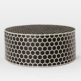 Honeycomb Design Round Bone Inlay Coffee Table in Black