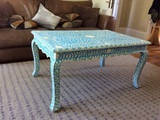 Bone Inlay Blue Floral pattern Coffee Table
