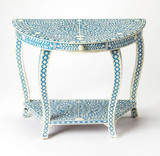 Traditional Bone Inlay Console Table Light Blue