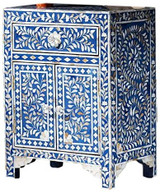 Mother of Pearl Inlay Floral Bedside in Blue