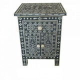 Bone Inlay Black Bedside Table Butterfly Design