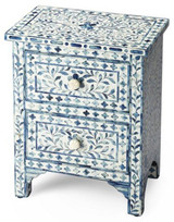 Colored Bone Inlay Bedside Floral Pattern in Blue