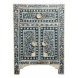 Mother of Pearl Inlay Floral Bedside in Dark Blue