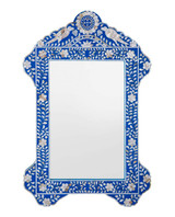 Bird Design Mother of Pearl Inlay Mirror Frame in Royal Blue