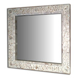 Mother of Pearl Inlay Floral Design Mirror Frame in White
